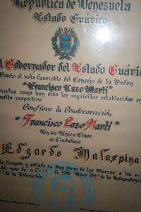 ORDEN FRANCISCO LAZO MARTÍ