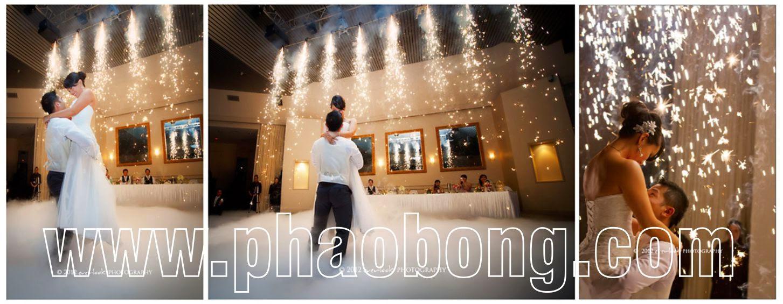 Pháo sáng sân khấu đám cưới