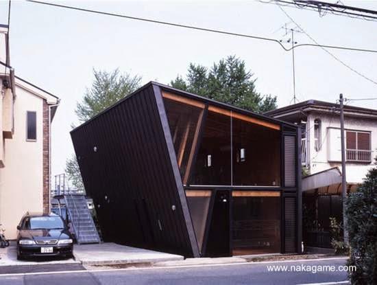 Casa moderna de madera japonesa vista desde la calle