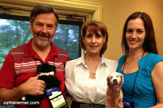 Little Oz and Flat Sugar with the team from BlogPaws at the conference in Nashville