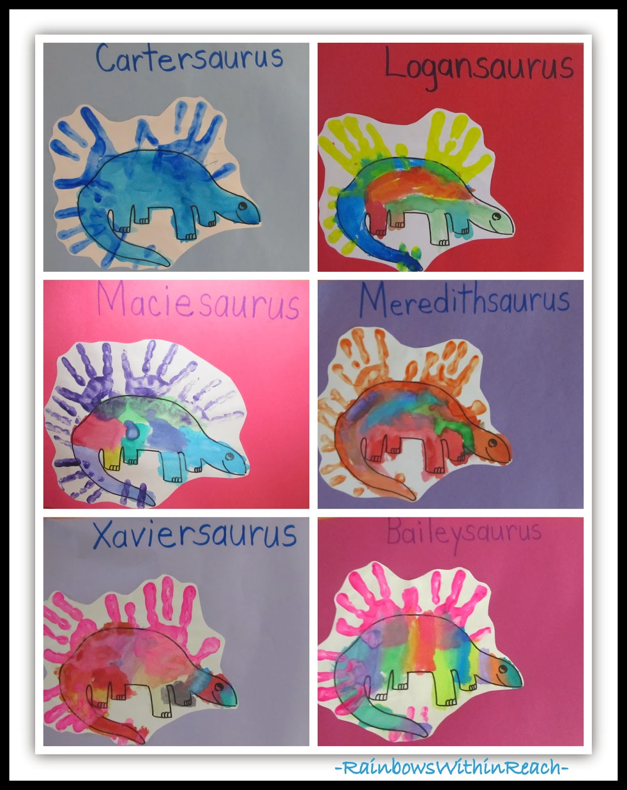 Dinosaur Paintings with Handprints in Preschool via RainbowsWithinReach