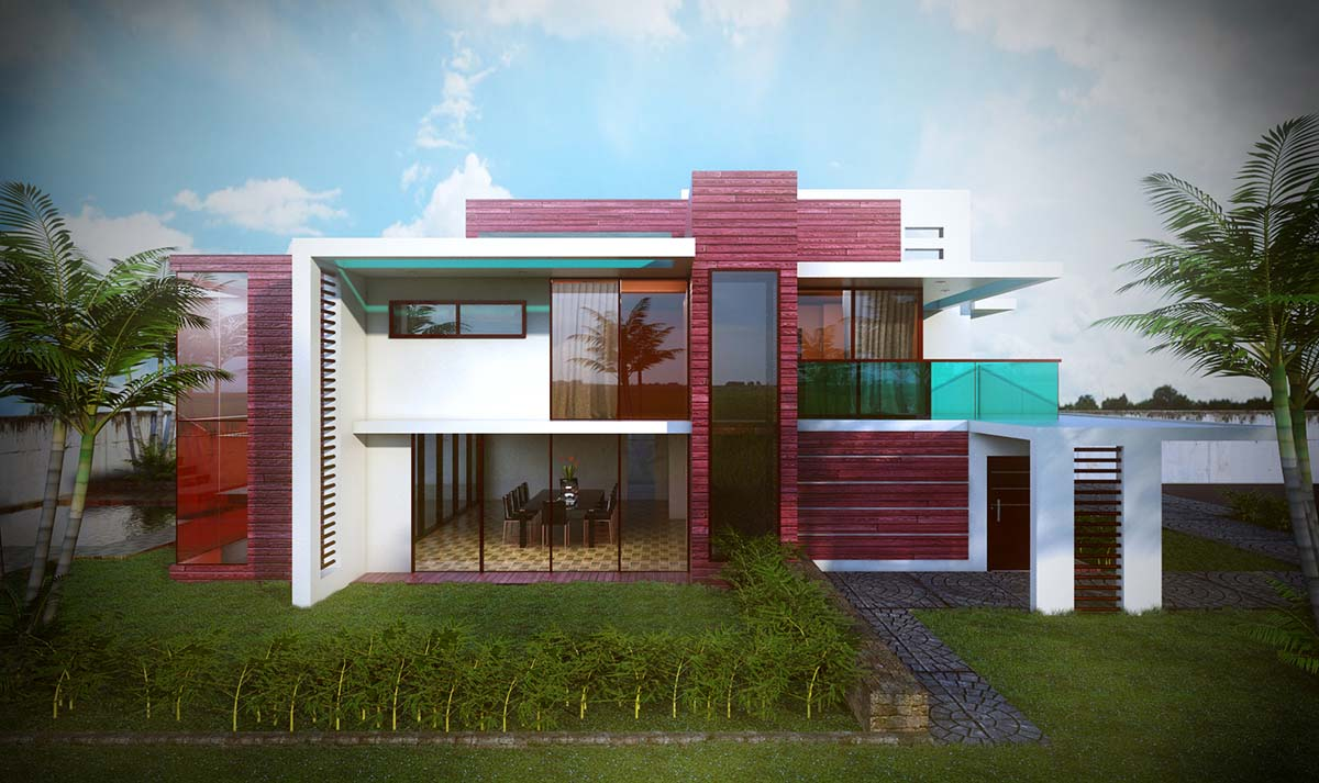 Sketchup texture free sketchup model modern villa 45 and for Modern villa
