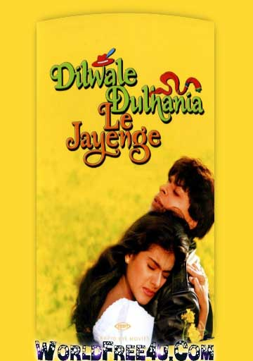 Poster Of Bollywood Movie Dilwale Dulhania Le Jayenge (1995) 300MB Compressed Small Size Pc Movie Free Download worldfree4u.com