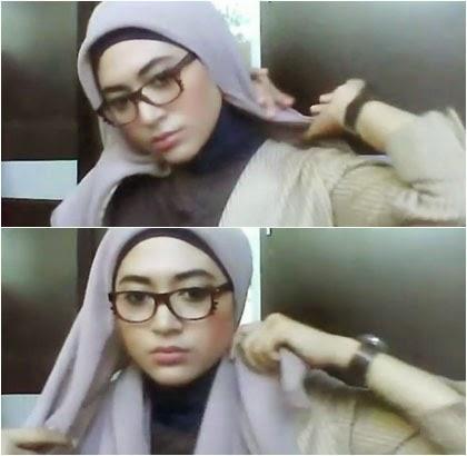 Kreasi Simple Jilbab Paris untuk Wanita Berkacamata 2