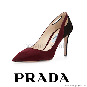 Crown Princess Mary wears Prada-Purple Bicolor Suede Cutout Point-Toe Pump