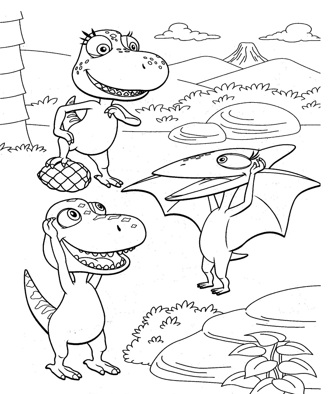 Dinosaurios para colorear: Dino Tren para colorear II
