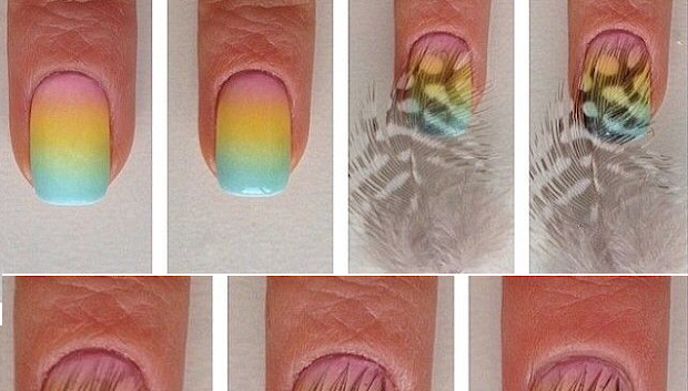 nail art feather design step