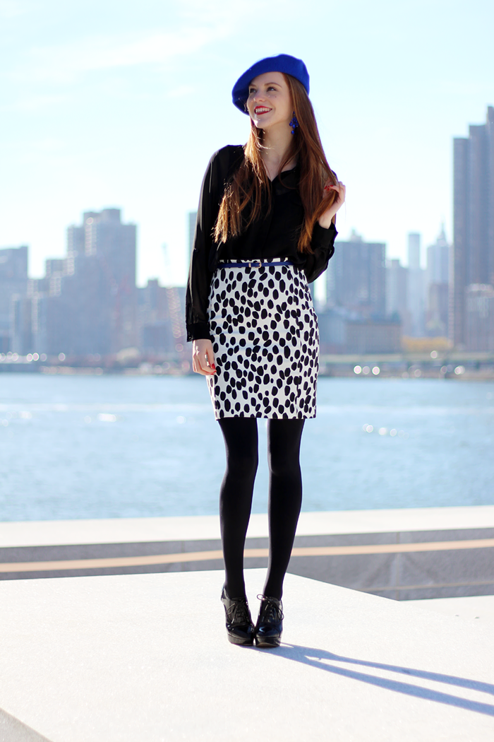 New York Fashion Blogger outfit with cobalt blue beret, red hair and dalmatian print skirt