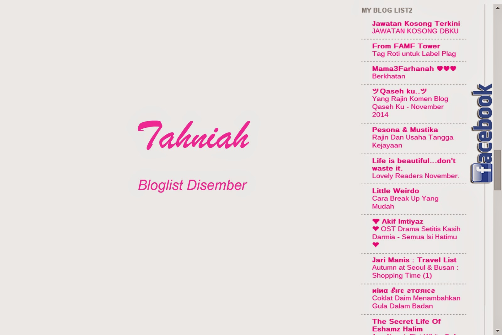 Bloglist, Disember, rakan blogger, blog