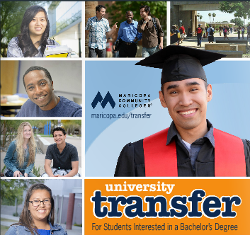 Image of the cover of the new university transfer guide. Features pictures of MCCD students.