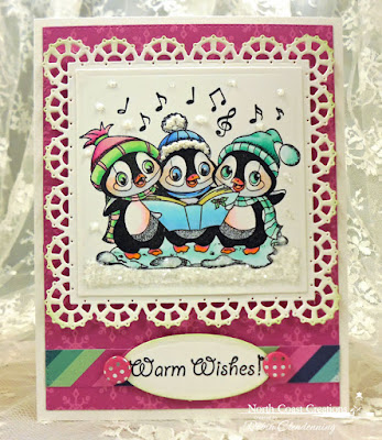 North Coast Creations Stamp set: Caroling Penguins, Our Daily Bread Designs Stamp set: Warm Wishes, Our Daily Bread Designs Custom Dies: Layered Lacey Squares