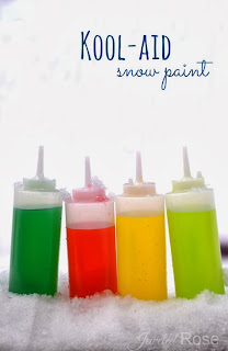 Kool-aid snow paint is super vibrant and smells amazing which makes it even more fun for kids