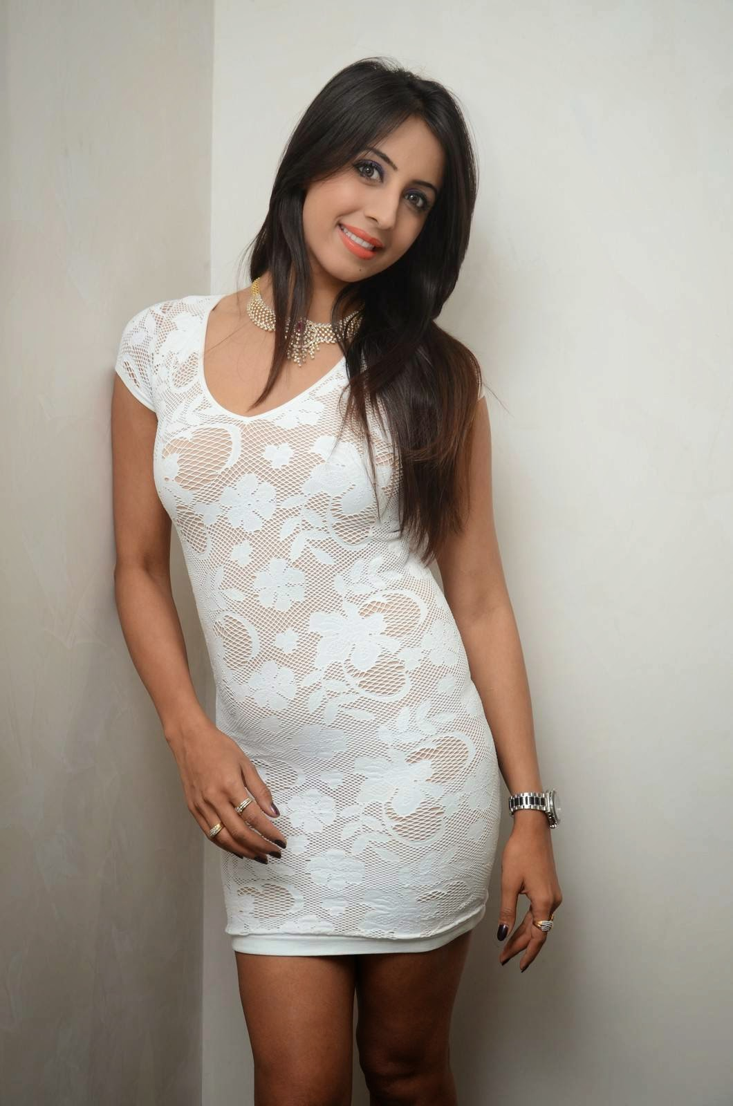 Actress Sanjjanaa Latest Cute Hot White Mini Skirt Dress Spicy Thighs Show Photos Gallery At Sapphire Spa Launch