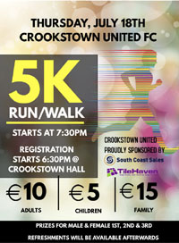 5k in Crookstown W of Ballincollig - Thurs 18th July 2019