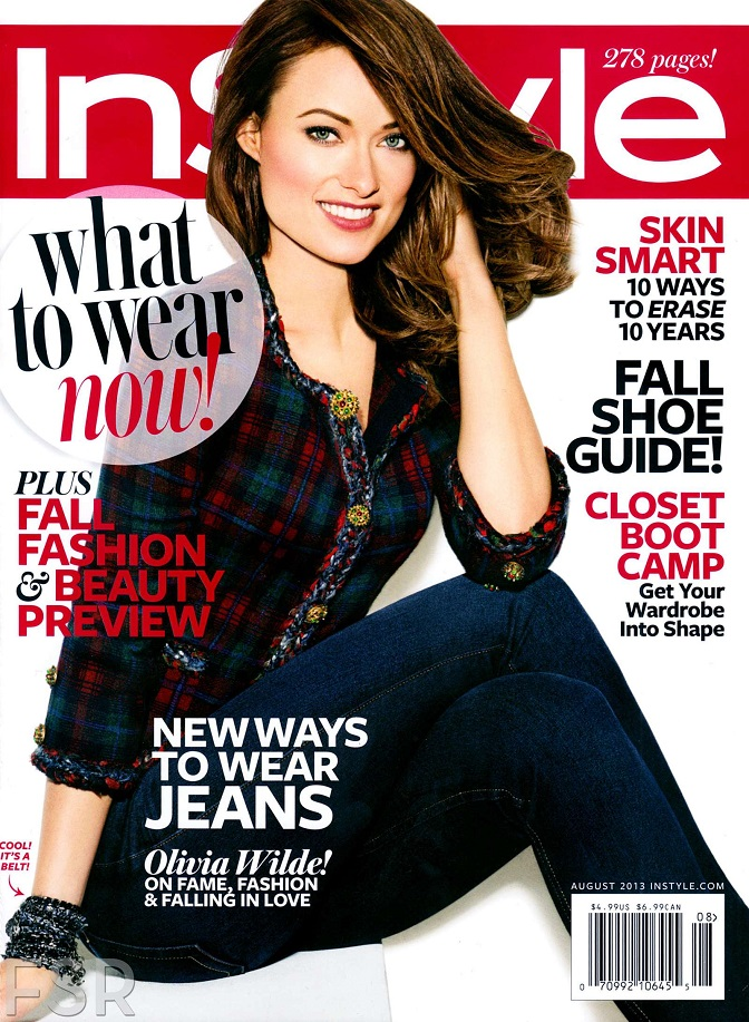 olivia wilde is the cover girl of instyle magazine august 2013. Black Bedroom Furniture Sets. Home Design Ideas
