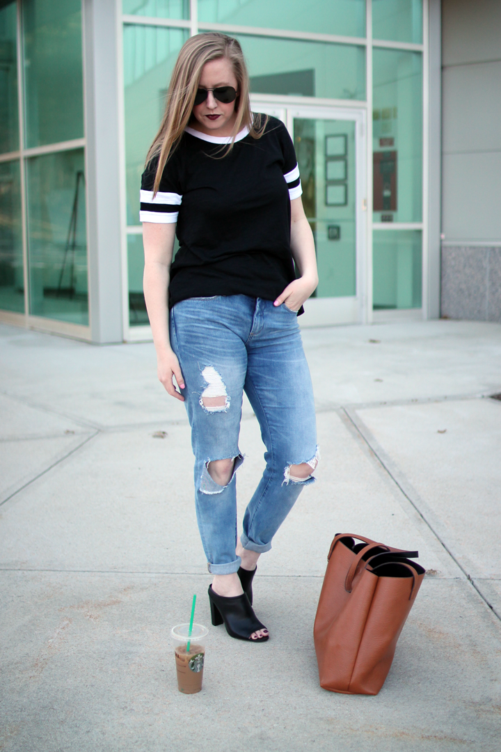 banana republic baseball shirt, boston blogger, blogger style, baseball tee shirt, blankNYC destroyed denim, target mules