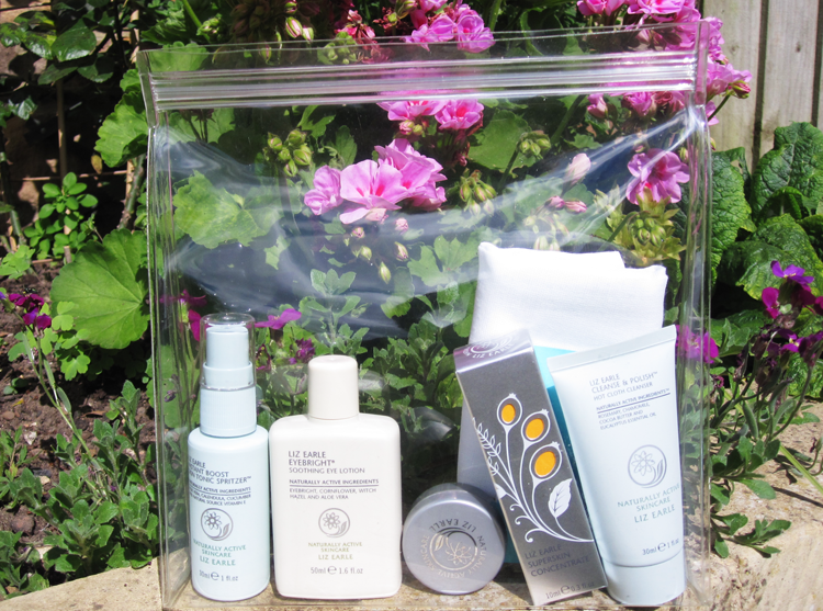 A picture of Liz Earle travel size skincare products