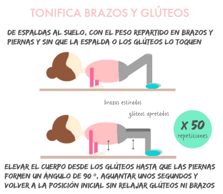 ejercicio para tonificar brazos y glúteos