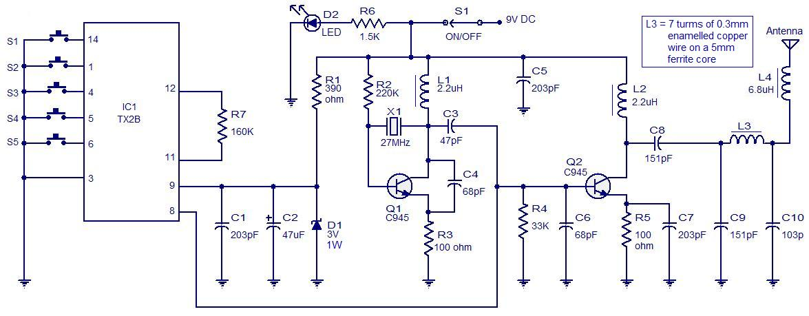 5 channel radio remote control ~ dunia bebas~the tx 2b forms the main part of the circuit push button switches s1 to s5 are used for activating (on off) the corresponding o p channels in the receiver