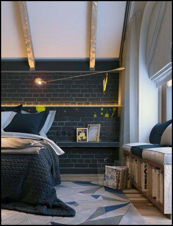 kreative soverom med kunstverk og ulike teksturer interiør ...