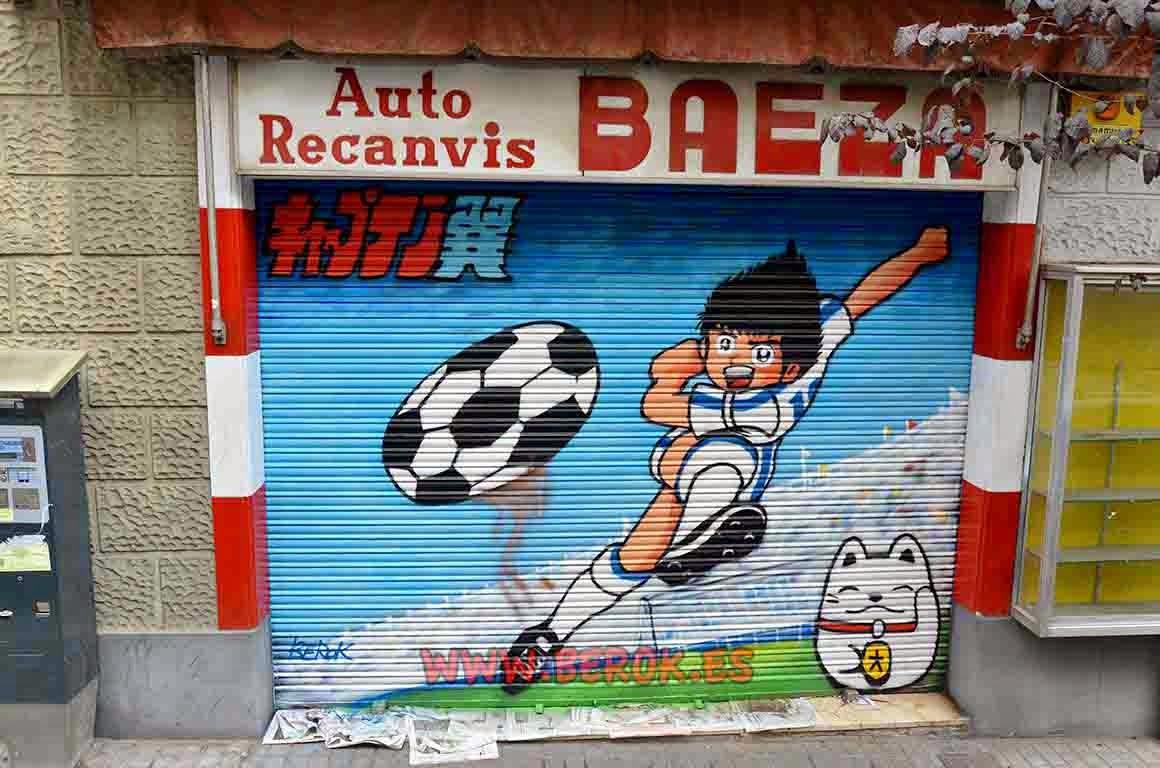 Graffiti mural de Oliver i Benji de Campeones