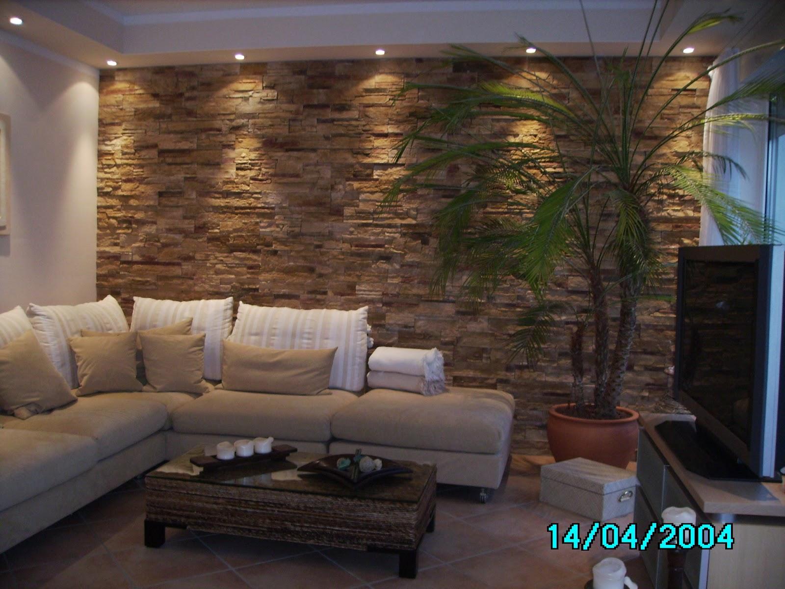Steinwand Tapete Wohnzimmer Hausgestaltung Ideen