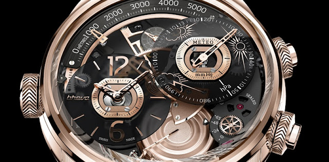 Génie 01 - World's First Mechanical Wristwatch Weather Forecast, display time, altitude, weather forecasting, barometric pressure, power reserve, movement display, price, in malaysia, silver, white gold, pink gold, bronze, color, colour