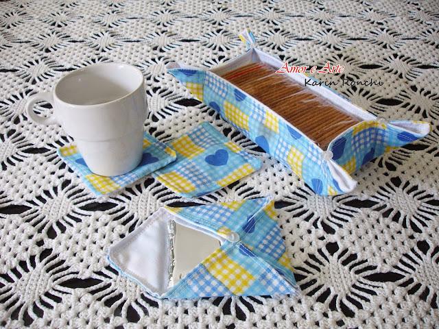Jogo de Chá em tecido - Blue Heart