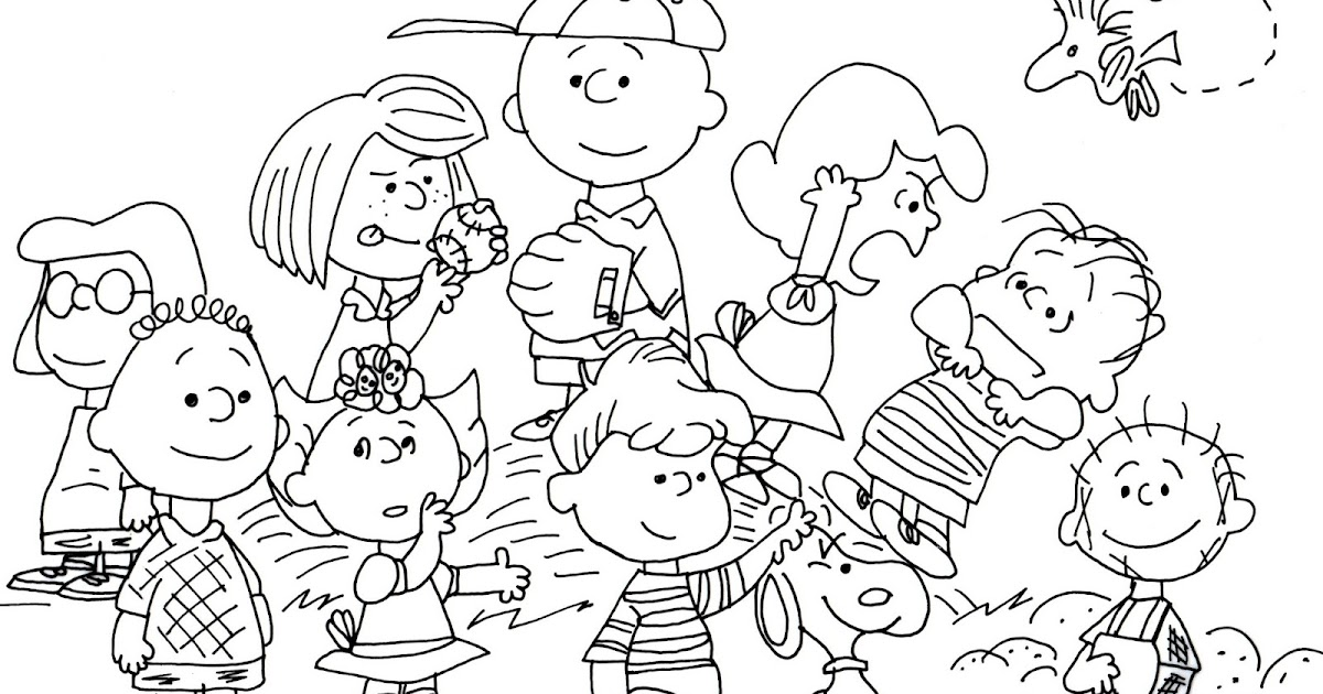 Free Charlie Brown Snoopy and Peanuts Coloring Pages: Peanuts Whole ...