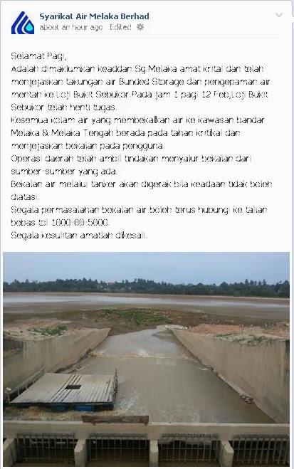 info air takungan kritikal