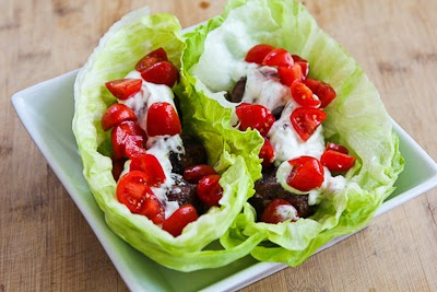 Ground Beef Gyro Meatball Lettuce Wraps with Tzatziki and Tomatoes found on KalynsKitchen.com