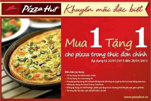 Pizza Hut - Mua 1 tặng 1 cho pizza trong thực đơn chính, khuyến mãi nhà hàng, dia diem an uong 365