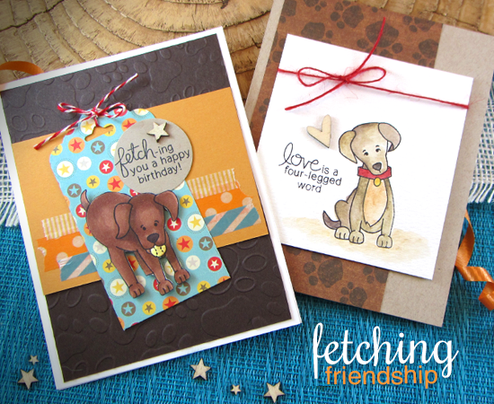 Labrador Dog Birthday Cards by Jennifer Jackson | Fetching Friendship Stamp set by Newton's Nook Designs
