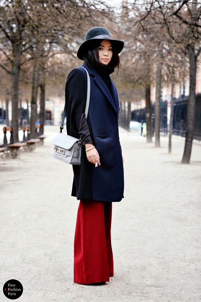 Pantalones de campana rojos street style 2015