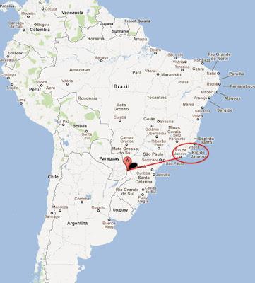 iguazu falls paraguay map