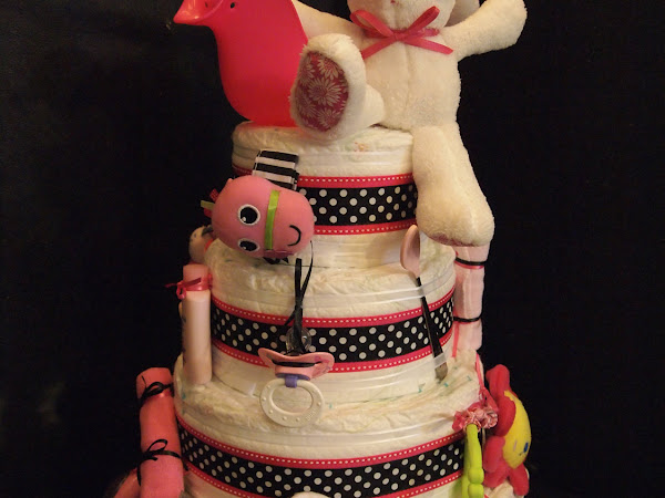 My Bunny Pascualito on top of a diaper cake!