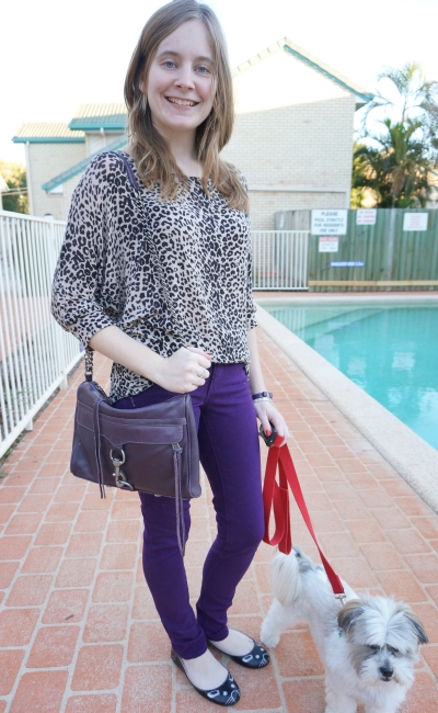 Away From Blue Australian Daily Outfit blogger purple skinny jeans and leopard print