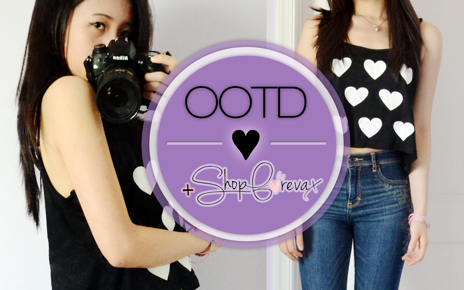 Intro photo for the Eat My Knee Socks OOTD post featuring a heart crop top, One Direction bracelet, and crystal cube bracelet from ShopForevax as well as Abercrombie jeans and wedge booties!