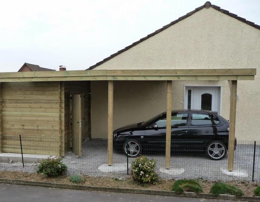 Terrasse en bois et ossature en bois bretagne ouest - Construire un carport ...