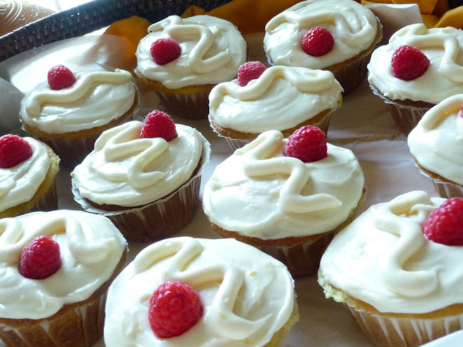 Lemon & Fresh Raspberry Buttermilk Cupcakes with Honey Lemon Cream Cheese Icing