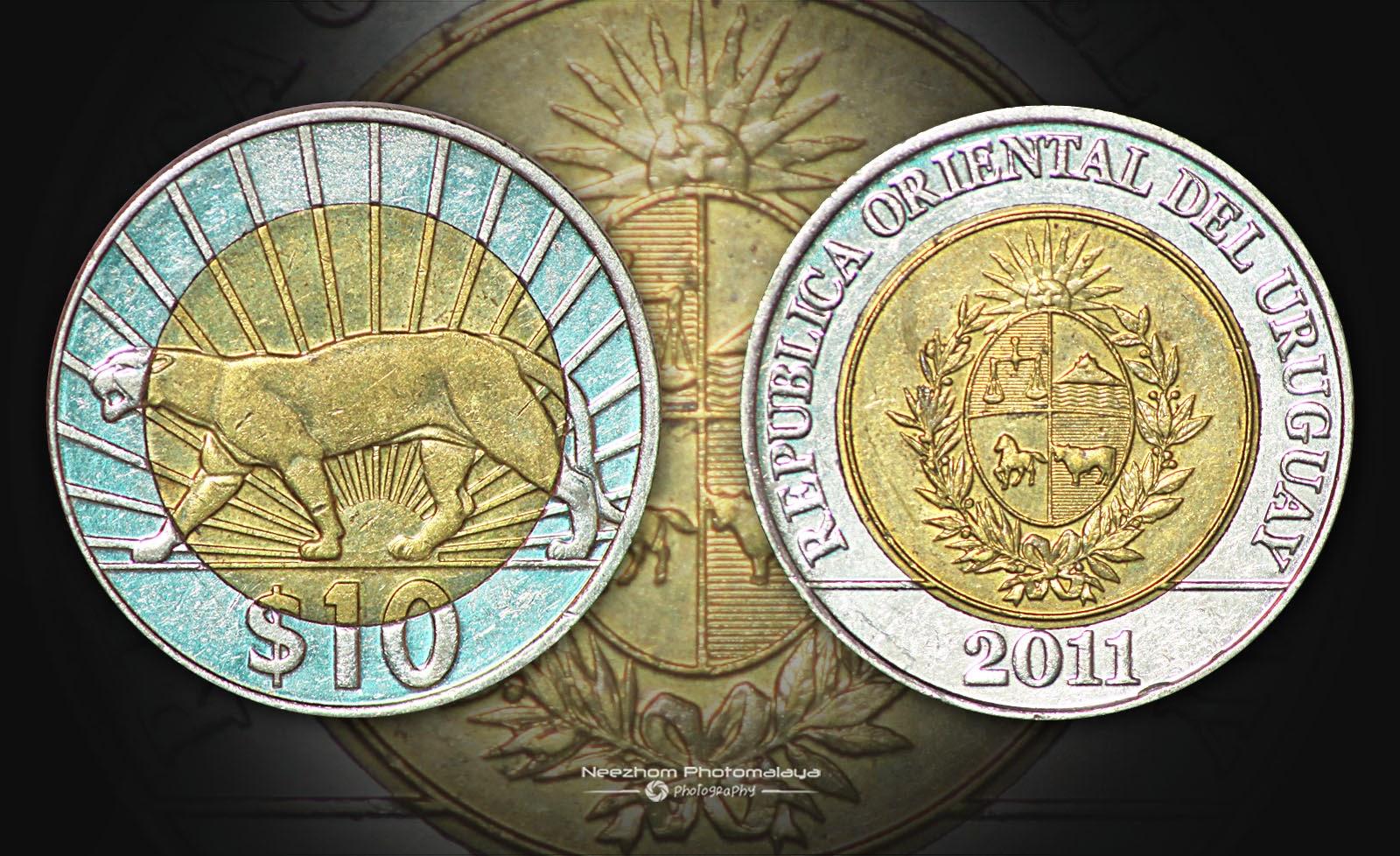Uruguay 10 Pesos 2011 bimetal coin