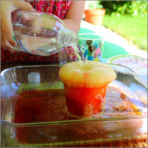 rainbow volcano baking soda and vinegar experiment