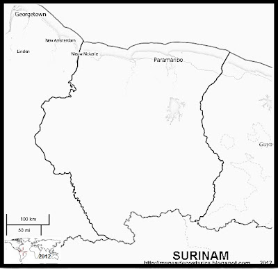 Mapa del limite de SURINAM, OpenStreetMap