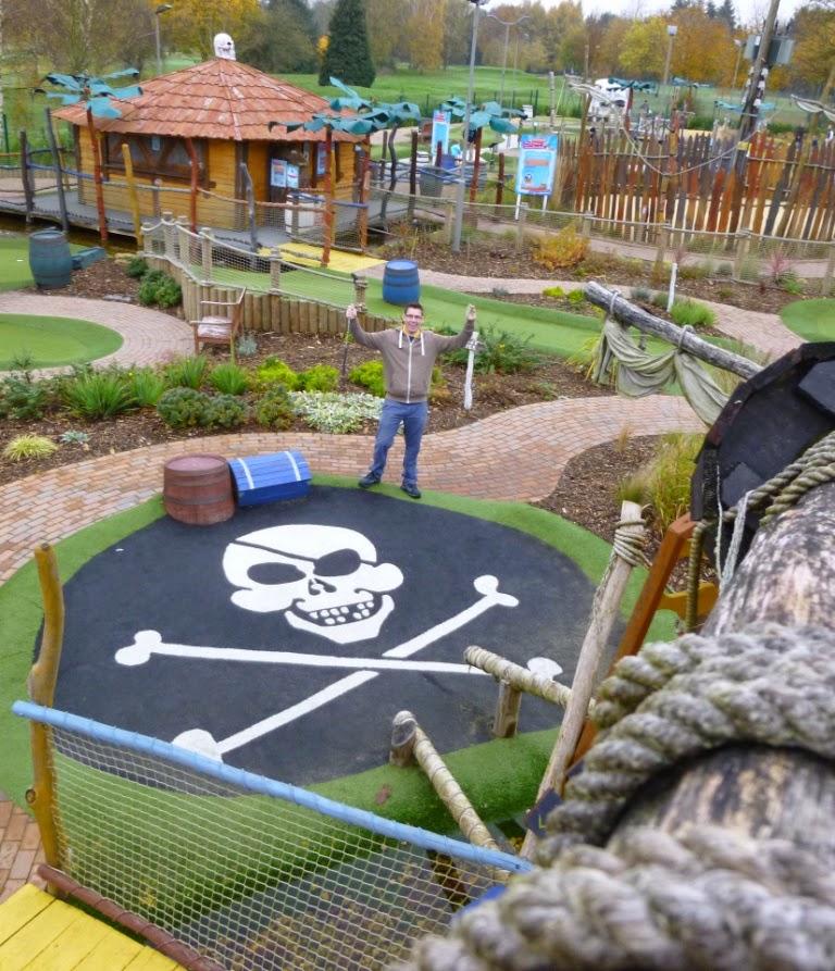 Minigolfer Richard Gottfried at the Pirate Island Adventure Golf course at Hoebridge Golf Centre in Woking, Surrey