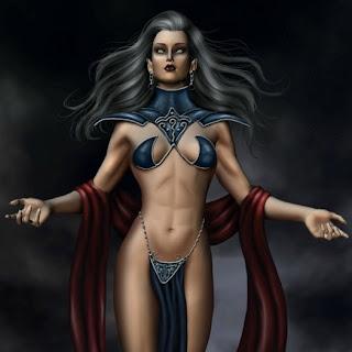Bella bruja invocando los poderes oscuros