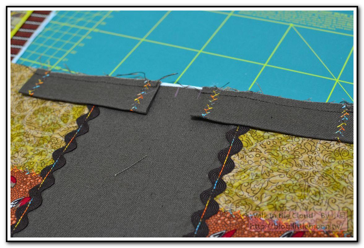 束口布車縫固定於表布