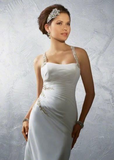 Vestido de Novia Tipo Tubo con Cuello Halter