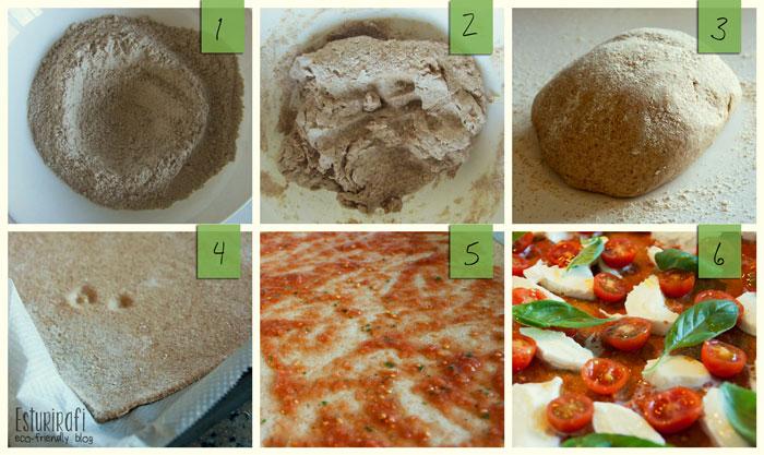 1. Haz un volcán con la harina; 2. Mézclala con el agua y la levadura; 3. Amásala y déjala levar; 4. Grosor de la masa de pizza; 5. Pinta la masa con el tomate; 6. Ponle los ingredientes y al horno!
