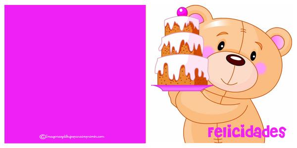 felicitaciones cumpleaños con osos para imprimir