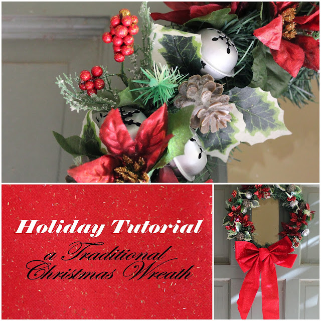 Faux wreath for the Holidays Red and Green